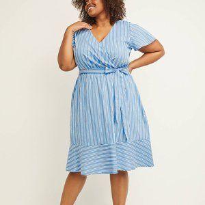 Lane Bryant 24 26 28 Dress Stripe Blue Fit & Flare